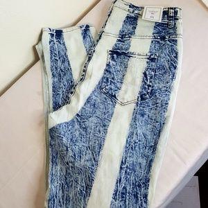 Aphrodite striped stone wash high waist jeans 2X
